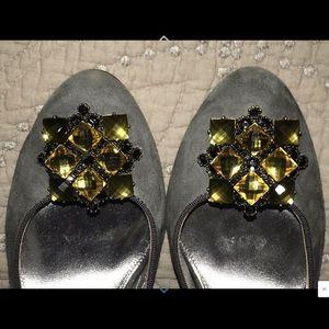 JCrew Gray Suede Jeweled Toe Slingback Heels 8.5 M